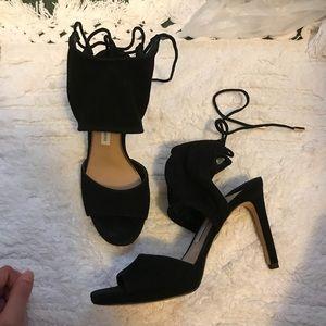 Diane von furstenberg Black suede ankle strap heel